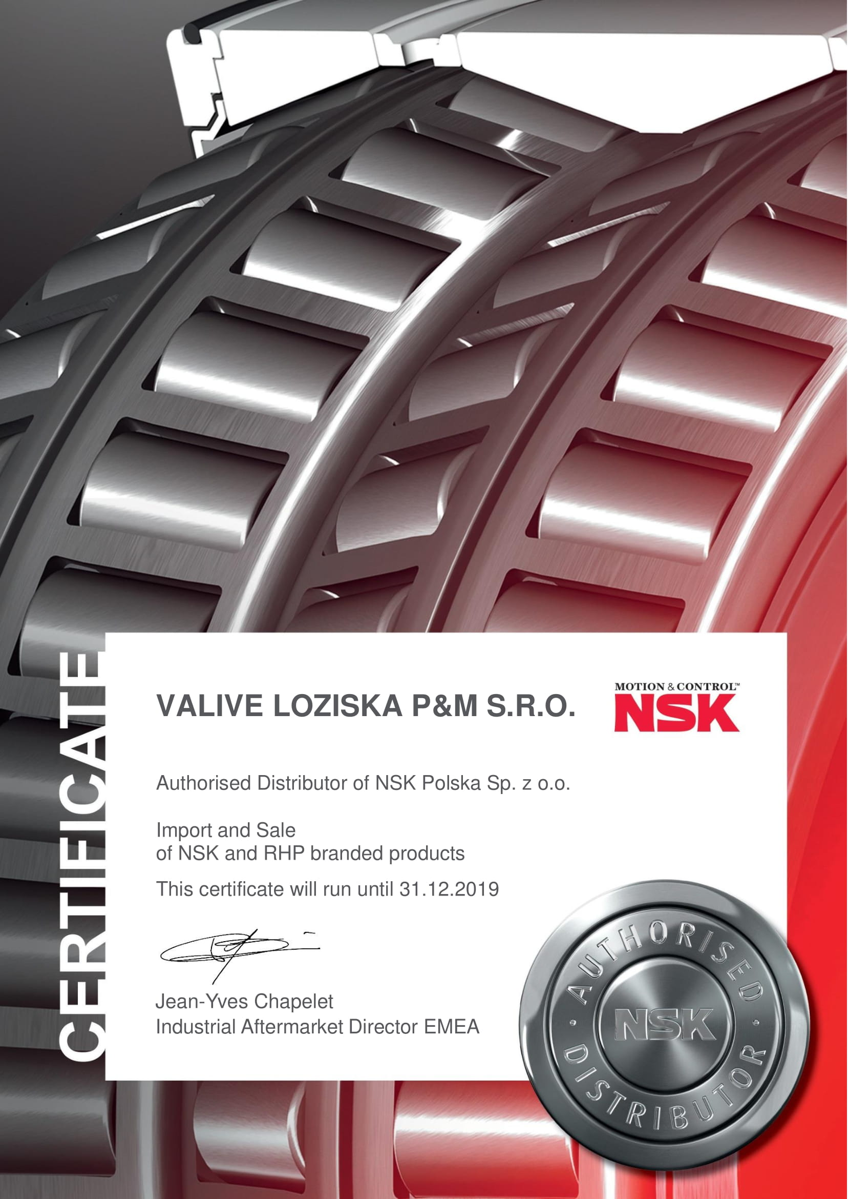 Certificate authorised distributor of NSK