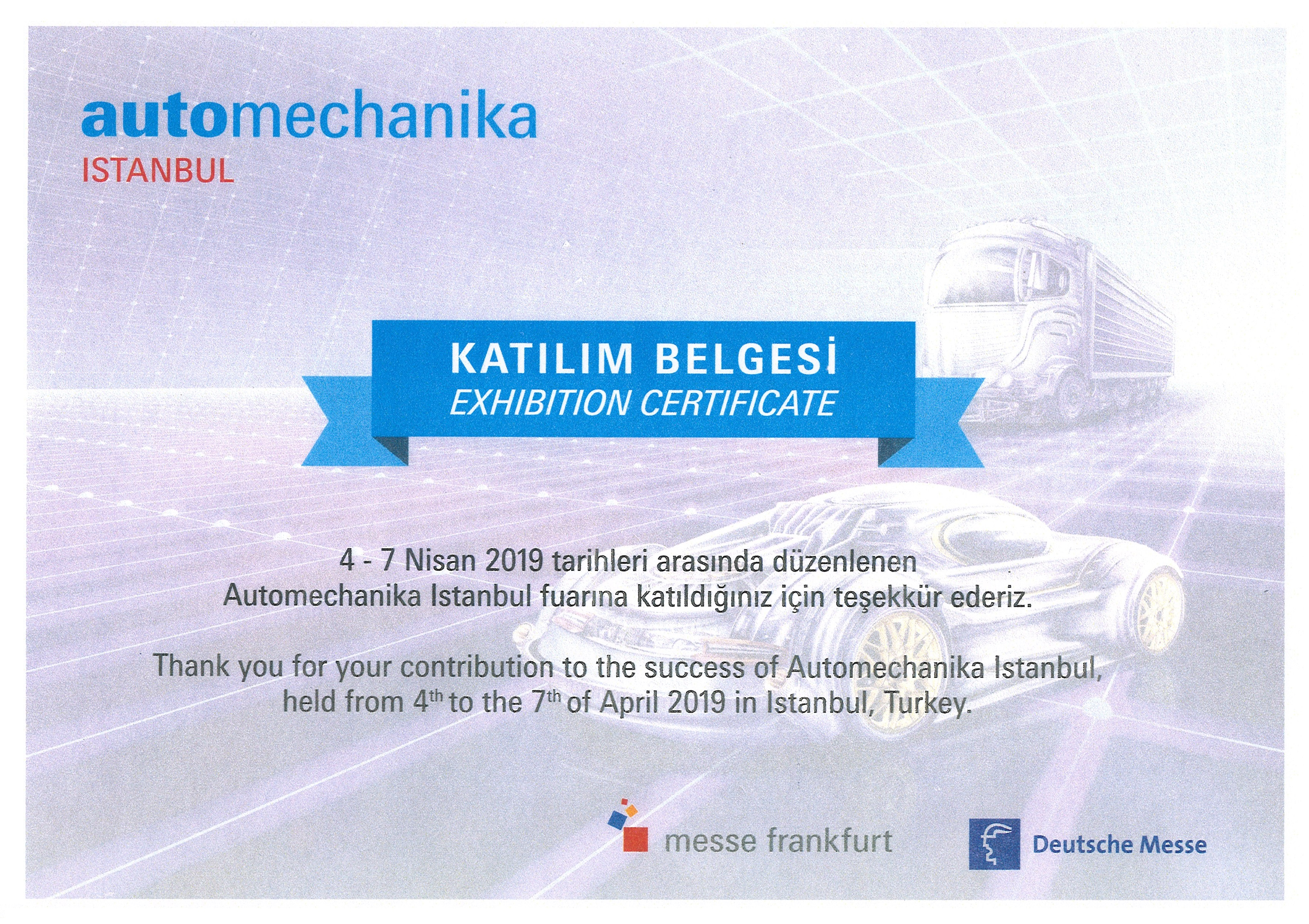 Exhibition certificate automechanika Istanbul