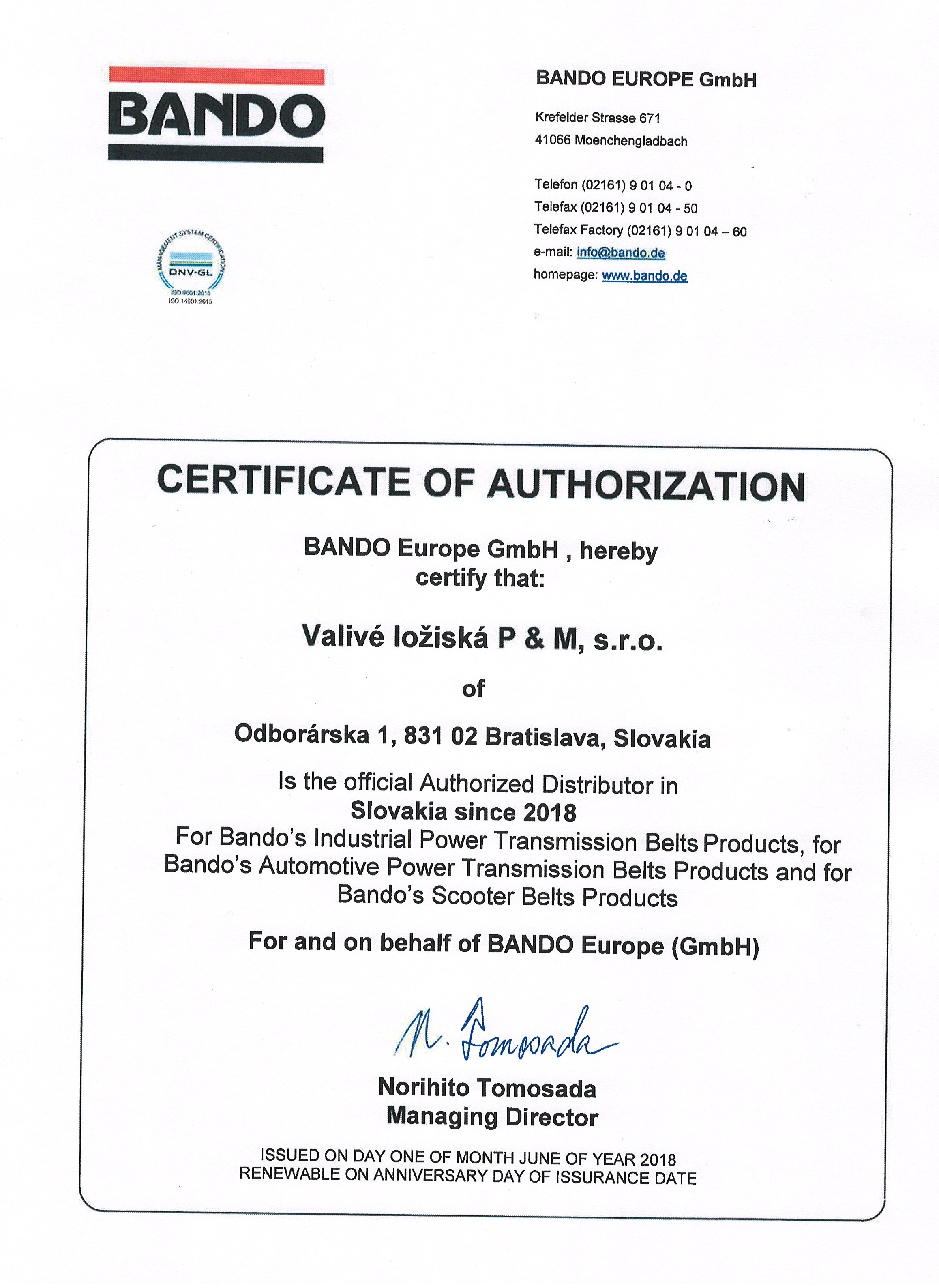 Certificate authorised distributor of BANDO